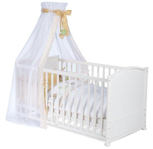 roba Komplettbett Set, Babybett weiß inkl. Bettwäsche, Himmel, Nest, Matratze, Kombi Kinderbett 70x140cm umbaubar zum Junior Bett