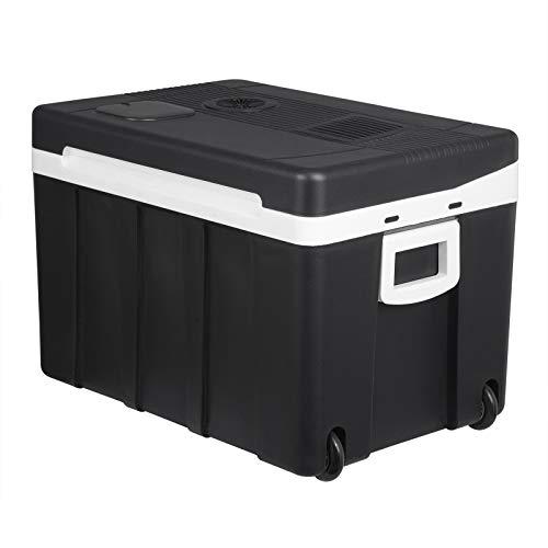 WOLTU KUE003sz Kühlbox, Tragbarer Mini Kühlschrank, 50 Liter Isolierbox zum Warmhalten, Kühlen für Auto, Van, Fahrzeug, Boot mit Räder für Camping, Reisen, Angeln - DC 12V & AC 220V Schwarz