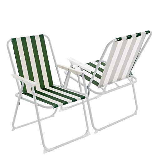 Harbour Housewares Metall-Klappstuhl für Garten, Strand und Camping - mit Armlehnen - Grün gestreift - 2 Stück
