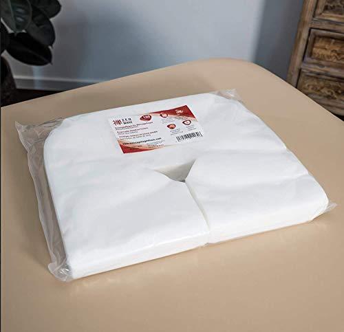 Zen Premium Einweg-Auflagen für die Kopfstütze von Massage-Liegen- 41 cm x 31 cm, Nasenschlitz-Tücher aus weichem Vlies, ideal als Massagezubehör für alle Kosmetik-Tische und Therapie-Bänke
