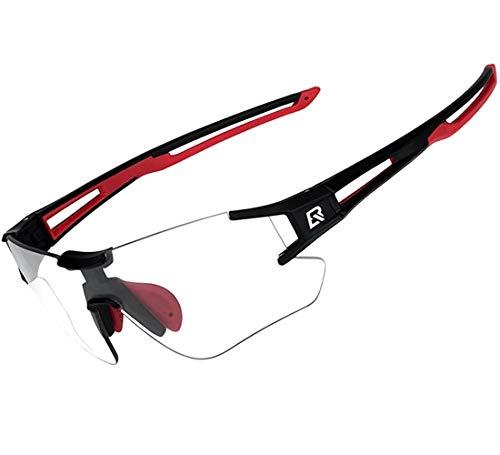 ROCKBROS Radsport Sonnenbrille Damen Herren Photochrome mit UV400 Schutz Fahrradbrille Transprante Selbsttönende für Outdoorsports wie Radfahren, Autofahren, Laufen, Angeln, Biking