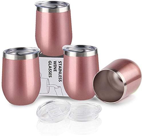 Sivaphe Reisebecher Kaffeetasse Camping Weingläser Edelstahl, Cappuccino Tassen Doppelwandig Trinkbecher Isolierte ohne Stiel mit Deckel 350 ml MEHRWEG (Rose Gold, 4 Stück-350 ML)