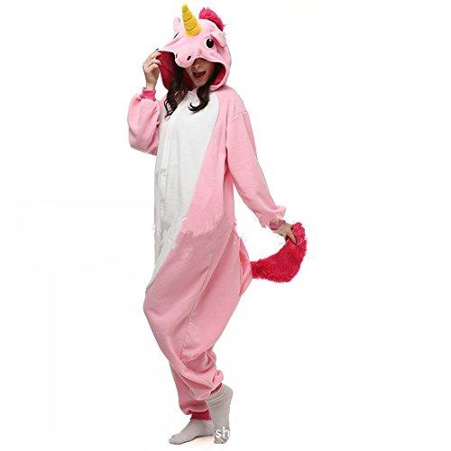 misslight Einhorn Pyjama Damen Jumpsuits Tieroutfit Tierkostüme Schlafanzug Tier Sleepsuit mit Einhorn Kostüme Festival tauglich Erwachsene (S, Pink)
