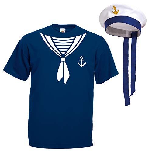 Shirt-Panda Herren T-Shirt · Matrosen Kostüm · wahlweise mit Mütze Karneval Gruppen Fasching Seemann Verkleidung Party Matrosenmütze Darts Unisex Hut · Marineblau (Druck Weiß) mit Mütze 4XL