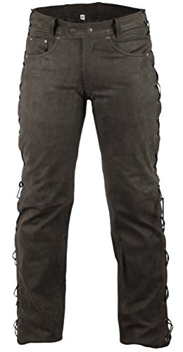 MDM Lederhose Bikerlederhose Bikerjeans Lederjeans in Nubuk Leder seitlich geschnürt (40)