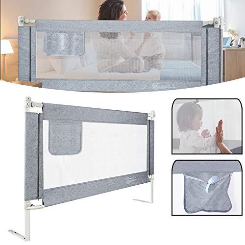 UISEBRT Kinder Bettgitter Bettschutzgitter 200cm - Höhenverstellbar Kinderbettgitter für Familienbett und Kinderbett, Rausfallschutz für Bett, Grau