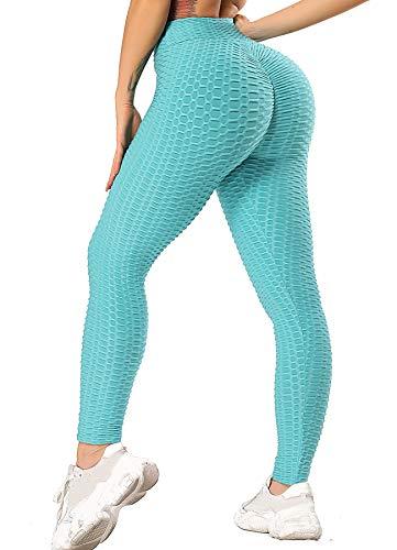 INSTINNCT Damen Slim Fit Hohe Taille Sportshort Lange Leggings mit Bauchkontrolle Türkie(Blau) S