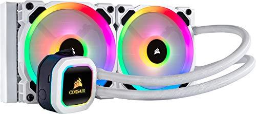 Corsair Hydro 100i RGB Platinum SE, Hydro-Serie, 240-mm-Kühler (zwei LL120-RGB-PWM-Lüfter, erweiterte RGB-Beleuchtung und Lüftersteuerung mit Software) Flüssiger CPU-Kühler - Weiß