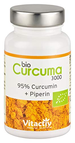 BIO CURCUMA 3000, hochdosierte Bio Kurkuma Kapseln, mit Piperin, sehr gute Bioverfügbarkeit, 95% Curcumin-Gehalt, entspricht 3000 mg Kurkuma-Pulver (60 Kapseln)