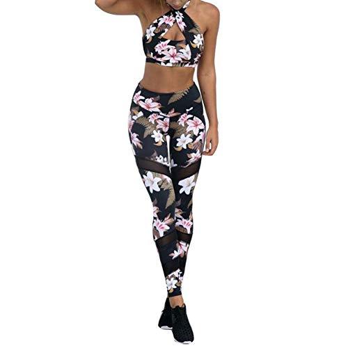Mxssi Damen Sportanzug Yoga Weste BH + Leggings Sport-Set Blumen Gederuckt Elastizität Sportwear Fitness Anzüge Frauen Hemd Hosen für Yoga, Workout,Jogging,Lauf
