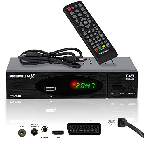 PremiumX Kabel Receiver DVB-C FTA 530C Digital FullHD TV | Auto Installation USB Mediaplayer SCART HDMI WLAN optional | Kabelfernsehen für jeden Kabel-Anbieter geeignet