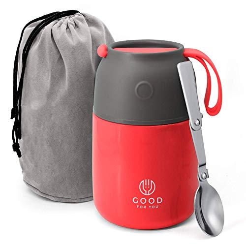 Isolierter Lebensmittelbehälter – 530 ml Edelstahlbehälter für warme und kalte Mahlzeiten – doppelwandige Isolierung – Thermobehälter für Schule, Büro, Reisen, Camping – faltbarer Löffel