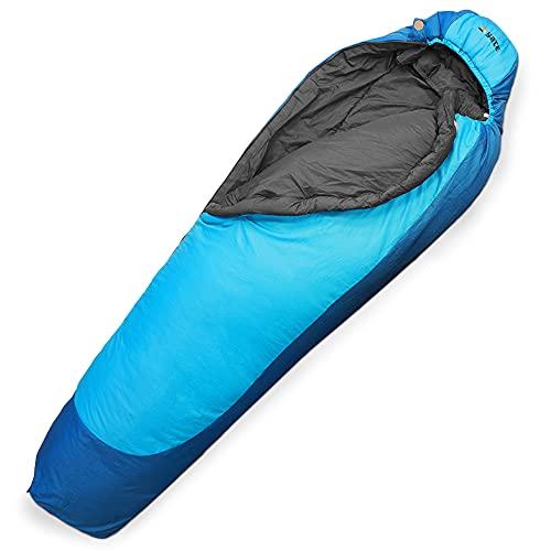Aven Peak Schlafsack 230 cm - Mumienschlafsack - wasserabweisend - warm - für bis zu -32 Grad - blau - Partnerschlafsack - Camping - Winterschlafsack