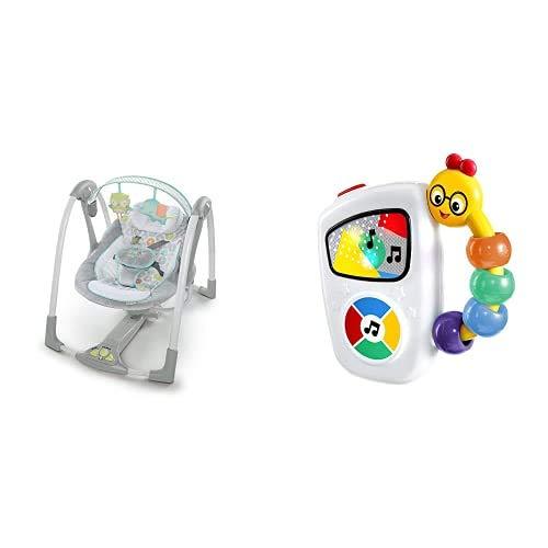 Ingenuity, Babyschaukel mit 5 Schaukelgeschwindigkeiten, Spielzeugbügel + Baby Einstein, leicht greifbares Musikspielzeug für unterwegs, mit Lichtern, 10 Melodien und Lautstärkeregler, ab 3 Monaten