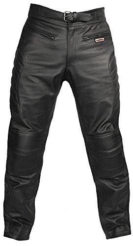 Skintan Herren Echtes Leder Motorradhose mit CE Protektoren Schwarz W34 L31