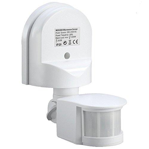 Maclean MCE25 Bewegungsmelder Wandbewegungssensor Infrarot 180° Sensor Außen Einbau Decke Wand (Weiß)