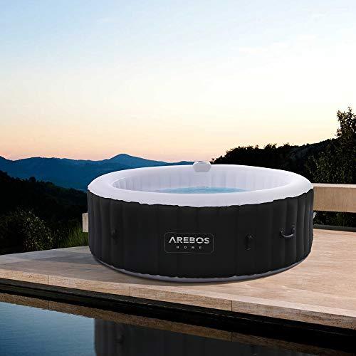 Arebos Whirlpool Rome   aufblasbar   In- & Outdoor   6 Personen   130 Massagedüsen   mit Heizung   1.000 Liter   Inkl. Abdeckung   Bubble Spa & Wellness Massage