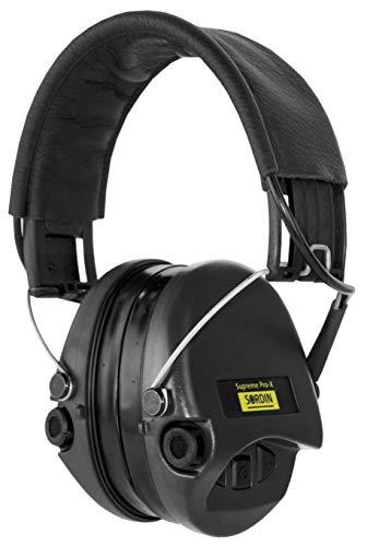 Sordin Supreme PRO X - Aktiver Gehörschutz SOR75302-X/L-02-G Elektronischer Gehörschützer Gel-Kits Lederband Schwarze Cups