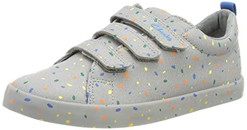 Clarks Jungen Foxing Print T Sneaker, Grey Canvas, 26 EU