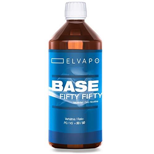 Elvapo BASE - Fifty Fifty   1000ml / 1L   50/50 (PG/VG)   Basisliquid für das Mischen von E-Liquids mit Aromen (für E-Zigaretten und E-Shishas)   0mg (ohne Nikotin)   Liquid-Basen Made in Germany!