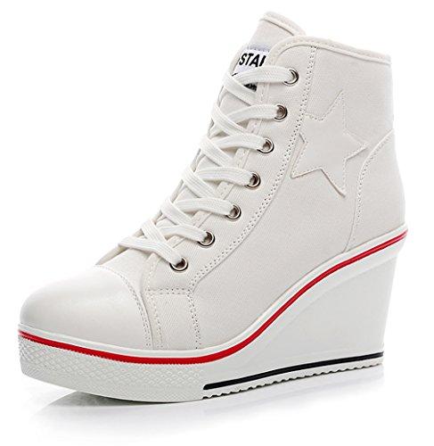 Solshine Damen Canvas Plateau Wedge Sneakers mit Stern Mustern Sportschuhe 8cm Keilabsatz Größe 35-43