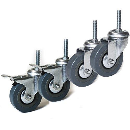 Lenkrolle 75mm mit Gewinde M10x20mm Set Möbelrollen 2x mit und 2x ohne Bremse