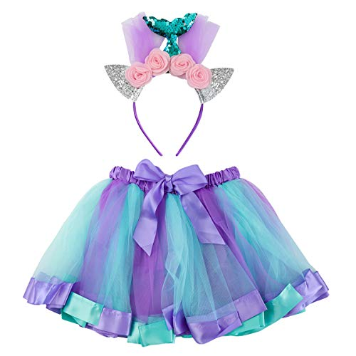 Fenical Kostüm Meerjungfrau Kinder Tutu Kleid Katzenohren Stirnband Geburtstag Party Kostüm Cosplay für Kinder Mädchen 2-3 Jahre alt (S)