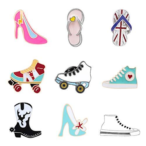 ZSCZQ Emaille Leinwand Schuhe Stifte Sammlung Stiefel High Heels Rollschuhe Hausschuhe Broschen Kleidung Tasche Bag Button Pin Abzeichen Frauen Schmuck Rollschuhe