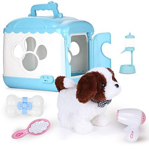 ZhanXiang Elektronisches Haustier Plüschtier Spielzeughund Set, mit Sprachaktiviertem Hundehaus Laufen bellen/gehen.für Kinder zwischen 3 und 6 Jahren (Barry-Blau)
