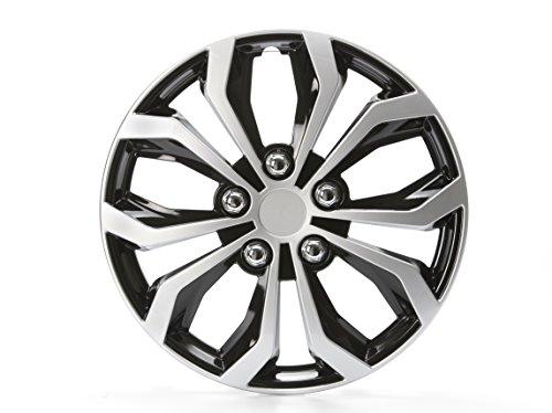 Cartrend 75568 Daytona Universal Radzierblenden in Schwarz/Silber, für 15 Zoll Räder,4 Radkappen aus robustem Kunststoff