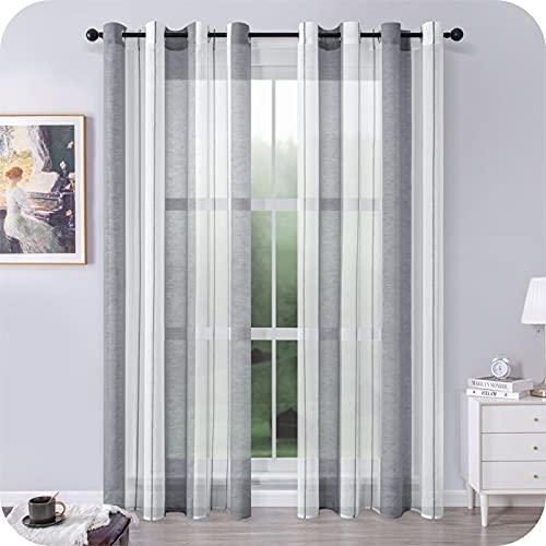MRTREES Voile Gardinen Kurz Vorhang Halbtransparent Streifen Stores Schals mit Ösenschal Moderner Wohnstil Weiß+Grau 225×140cm (H×B) für Dekoration Kinderzimmer Wohnzimmer Schlafzimmer 2er-Set