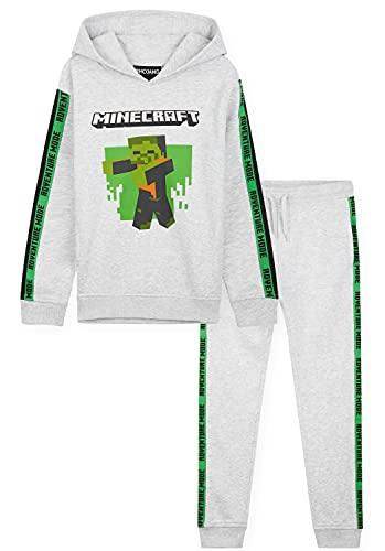 Minecraft Jogginganzug Kinder Jungen und Teenager, Kinderkleidung Junge, Hoodie und Jogginghose, Merch, Gamer Geschenk, 110-164 (Grau, 5_years)