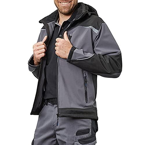 Pionier ® workwear Herren Softshell Arbeitsjacke mit Kapuze | atmungsaktive Jacke | verstellbare Ärmel | reflektiert bei Nacht | Outdoor | grau/schwarz L