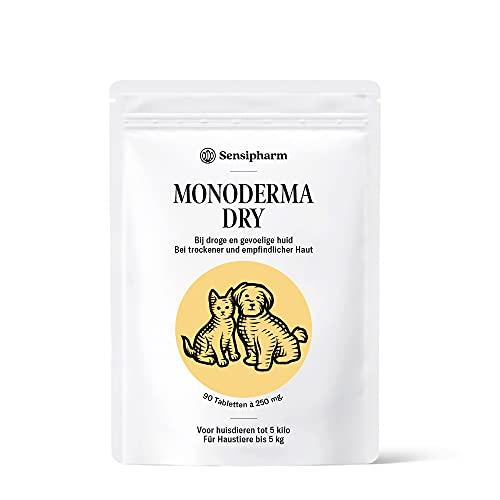 Sensipharm Monoderma Dry - Hilft Natürlich bei Trockenes Ekzem, Juckreiz, Haut, Fell, Probleme - 90 Tabletten a 250 mg. für Katzen, Hunde, Meerschweinchen, Kaninchen