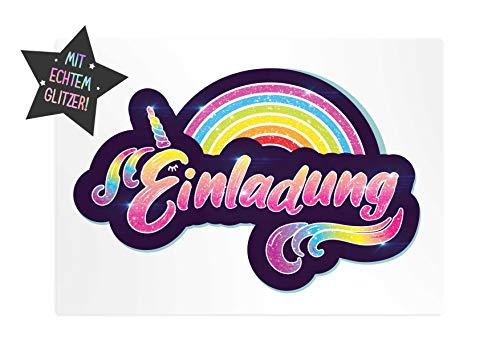 Friendly Fox Glitzer Regenbogen Einladung - 12 Regenbogen Einladungskarten zum Geburtstag Kinder Mädchen - Einladung Kindergeburtstag - Regenbogen-Party - Glitzer Karte