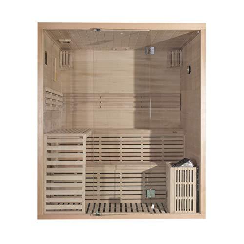 Wellis Serenis Hemlock finnische Sauna 180x150x210cm Komplett-Set inkl. Saunaofen Saunazubehör