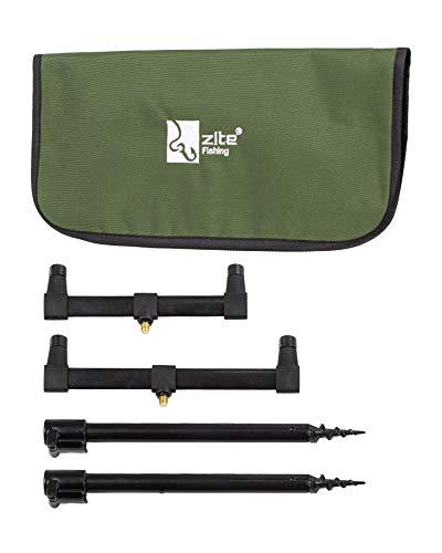 Zite Fishing Ruten-Auflagen Set - Teleskop Bank-Sticks 30-50cm & Buzzer-Bars als Rutenhalter - Mit Transport-Tasche
