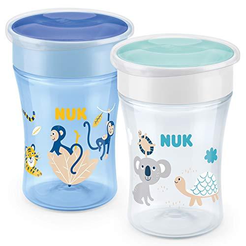 NUK Magic Cup Trinklernbecher | auslaufsicherer 360°-Trinkrand | 8+Monate | BPA-frei | 230ml | Affe & Koala (blau) | 2 Stück