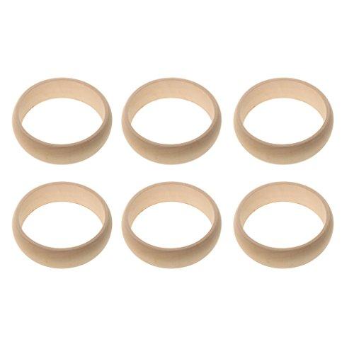 Daily Mall Unbehandelte Holz Armband Naturholz Armreif DIY Bangle Form Auswahl - Naturholz, 3