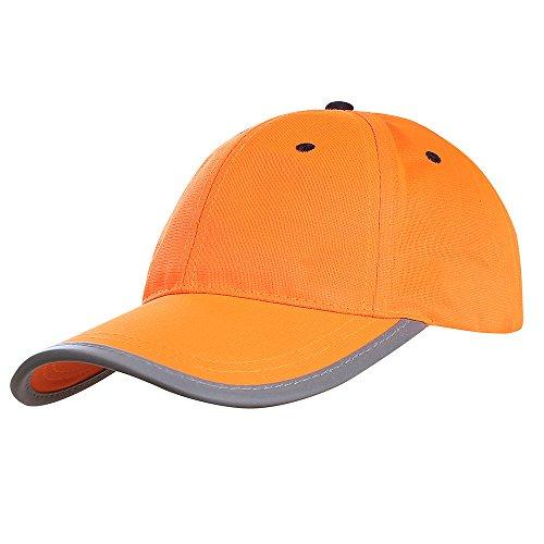 AYKRM Headwear Hi-Vis Cap - Reflektierende Sichtbarkeit Baseball Baseballmütze Reflektierende Cap, 59CM, Orange
