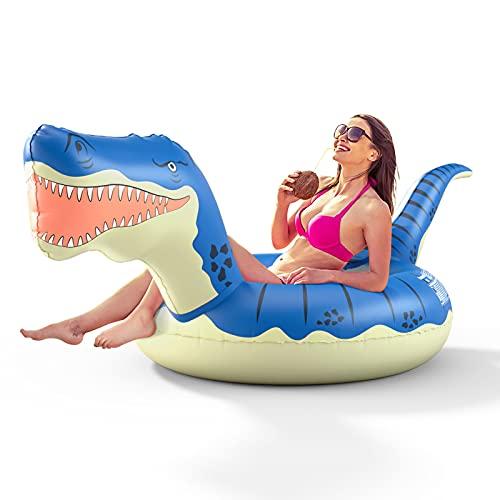 FUNOVA Aufblasbarer Dinosaurier Schwimmring Luftmatratze : Riesiger Tyrannosaurus Pool Floß Schwimmtier Schwimmreifen Wasser Strand Party Sommer Spielzeug Wasserspielzeug für Erwachsene Kinder Blau