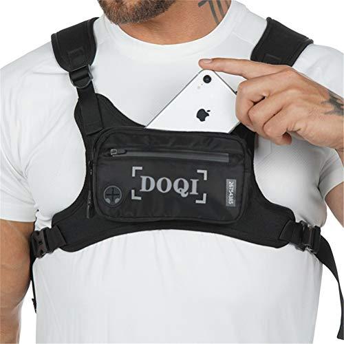 AMZDOQI Diebstahl-sicher Brusttasche Herren Damen Wasserdicht Klein Lauftasche für Outdoor Sport Jogging Trainning Fitness (Schwarz)