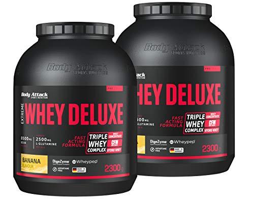 Body Attack Extreme Whey Deluxe, Eiweißpulver mit Aminosäuren, Triple-Whey-Complex, CFM Whey Isolate, perfekt lösliches Protein-Pulver, fettarm, zuckerarm, Made in Germany, Banana Cream, 2x2,3 kg