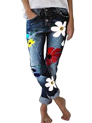Minetom Damen Jeanshose Skinny Stretch Jeans mit Blumen Slim Fit Hohe Taille Boyfriend Denim Hose Freizeithose A Blau Large