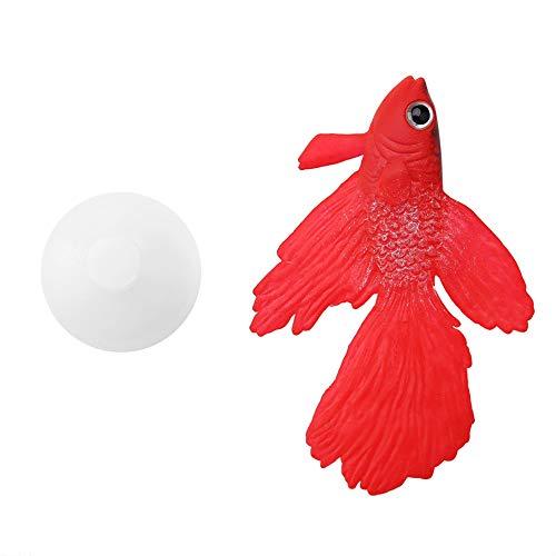 TOPINCN Silikon Künstliche Fische Hohe Simulation Lebensechte Schwimm Aquarium Aquarium Ornament Dekoration mit Linie Saugnapf(Red Betta Fish)
