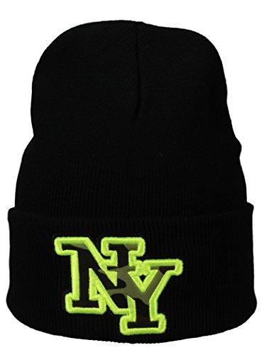 Alex Flittner Designs Basic Flap/Herren Wintermütze mit NY Stick in schwarz/neongelb