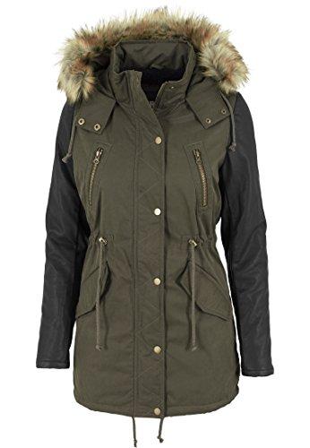 Urban Classics Damen Jacke Jacke Leather Imitation Sleeve Parka mehrfarbig (Olv/Blk) Medium