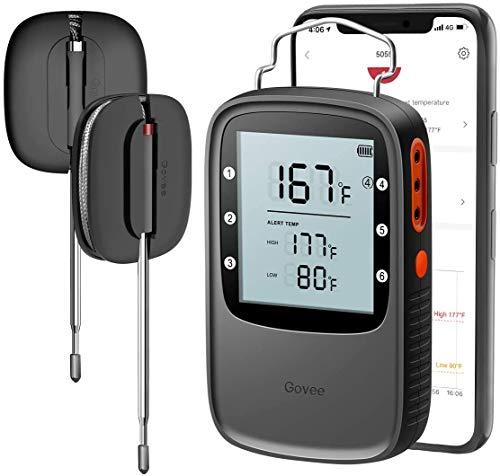 Govee Grillthermometer, Bluetooth BBQ Thermometer Digitales kabellos Ofenthermometer mit 2 Edelstahlsonden, Magnetisches Design für Grillen, Küche