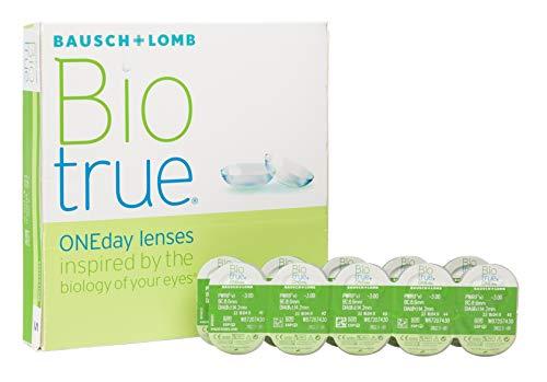 Bausch und Lomb Biotrue ONEday Tageslinsen, sphärische Kontaktlinsen, weich, 90 Stück BC 8.6 mm / DIA 14.2 / -5.25 Dioptrien