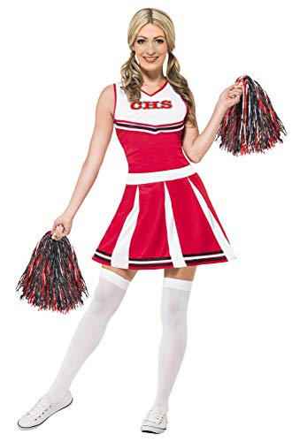 Smiffy's 40065S - Damen Cheerleader Kostüm, Kleid und Pompons, Größe: 36-38, rot